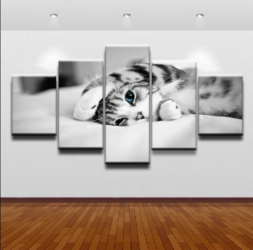 5 Panel Canvas Wall Art | Kitten On Bed | Panelwallart In Five Piece Canvas Wall Art (Image 3 of 20)