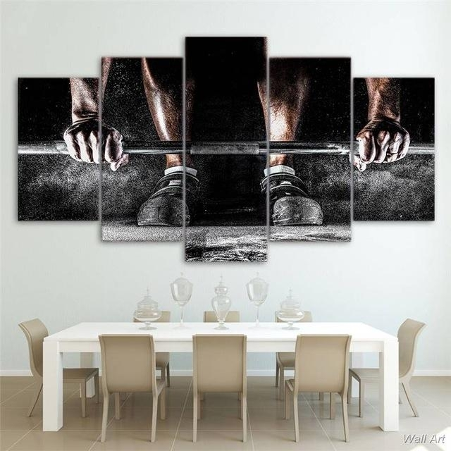 5 Panel Canvas Wall Art | Weight Training | Panelwallart Throughout Canvas Wall Art (View 10 of 10)