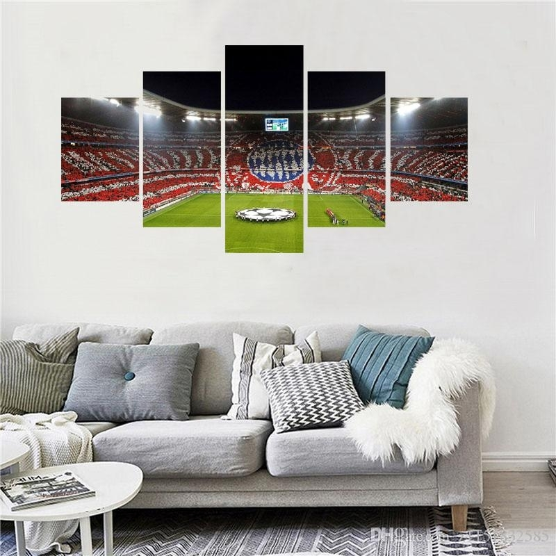 5 Panel Football Playground World Cup Paintings Living Room Soccer Throughout Soccer Wall Art (Image 1 of 25)