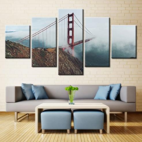 5 Panel Golden Gate Bridge Chain Bridge Fog Rope Modern Home Wall Intended For 5 Panel Wall Art (Image 8 of 25)