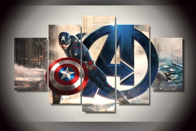 5 Panel Hd Printed Oil Painting Captain America Movie Poster Canvas Within Captain America Wall Art (Photo 10 of 10)