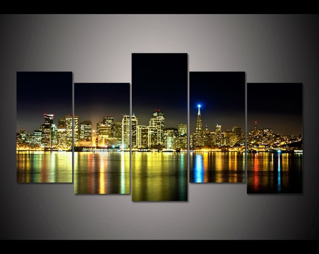5 Panel Large Hd Printed Painting San Francisco California Canvas Intended For San Francisco Wall Art (Image 4 of 25)