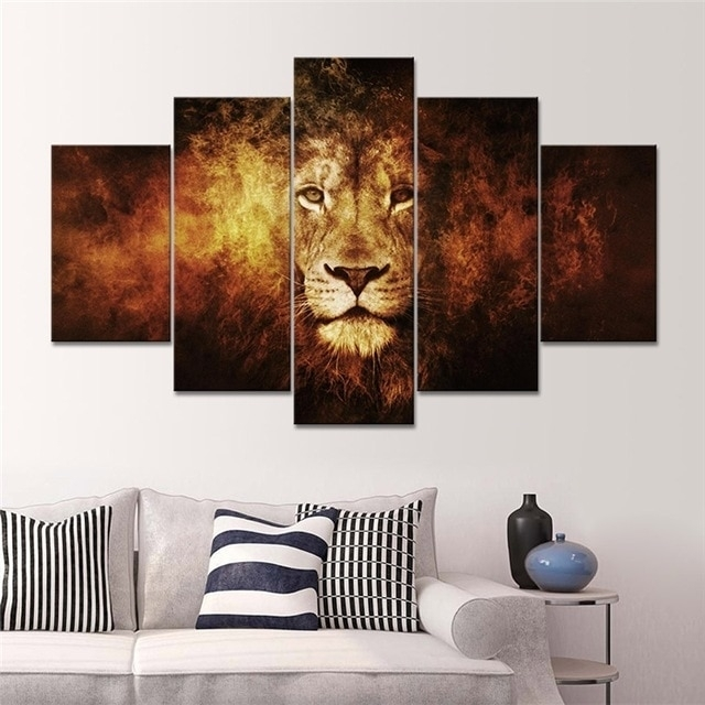 5 Panel Lion Art Canvas Wall Hanging Art Lion King Picture Landscape Inside 5 Panel Wall Art (Image 9 of 25)