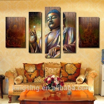 5 Panel Modern Printed Abstracbuddha Painting Picture Cuadros Inside Modern Painting Canvas Wall Art (View 10 of 25)