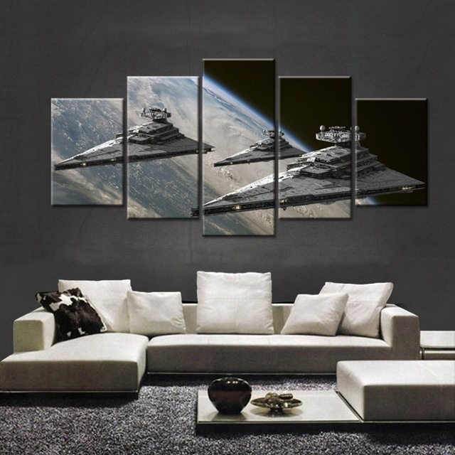 5 Panel Movie Star Wars Star Destroyer Painting Canvas Wall Art Pertaining To Modern Painting Canvas Wall Art (Photo 20 of 25)