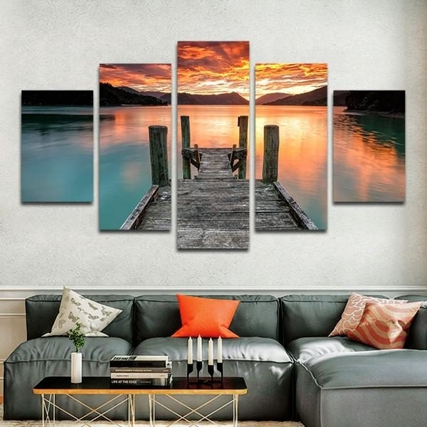 5 Panel / Piece Jump In The Lake At Sunset Sky Multi Panel Canvas With 5 Panel Wall Art (Image 4 of 25)