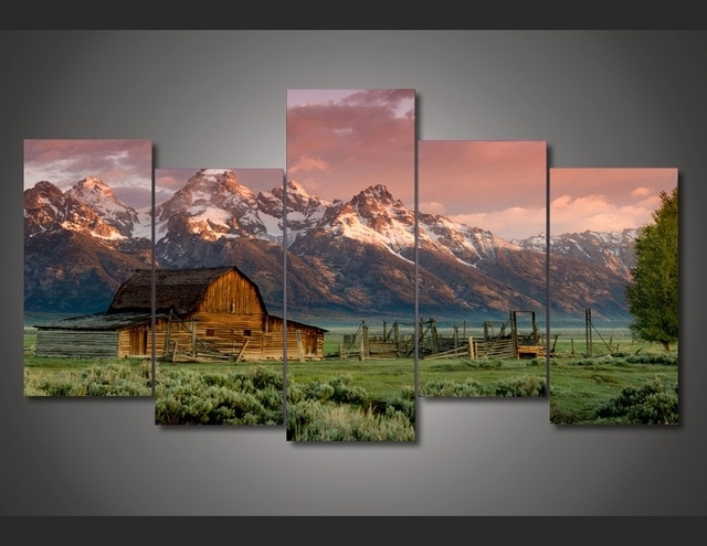 5 Panel Printed Modular Painting Country Landscape Canvas Print Art Intended For Country Wall Art (View 19 of 25)