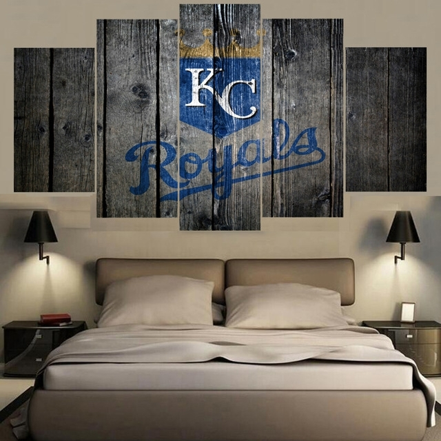 5 Panel Sport Kansas City Royals Wall Art Canvas Painting With Kansas City Wall Art (Image 2 of 25)