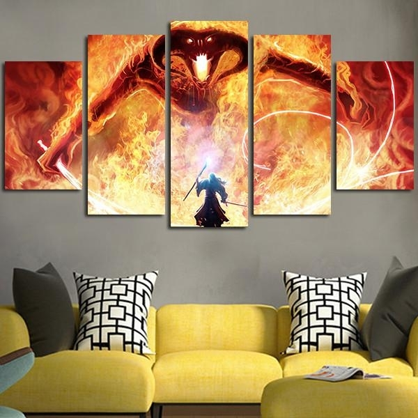 5 Panel The Lord Of The Rings Balrog Wall Art Canvas Free Shipping Inside Lord Of The Rings Wall Art (Photo 11 of 20)
