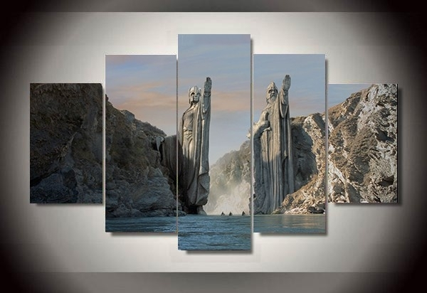 5 Panel The Lord Of The Rings The Argonath Gates Of Gondor Anduin Hd Within Lord Of The Rings Wall Art (View 7 of 20)
