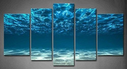5 Panel Wall Art Blue Ocean Bottom View Beneath Surface Painting The Throughout 5 Panel Wall Art (Image 11 of 25)