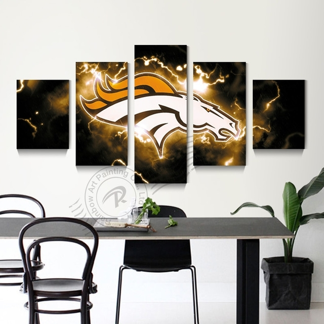 5 Panel Wall Art Denver Broncos Picture Painting Modern Prints Home Regarding Broncos Wall Art (Image 2 of 20)