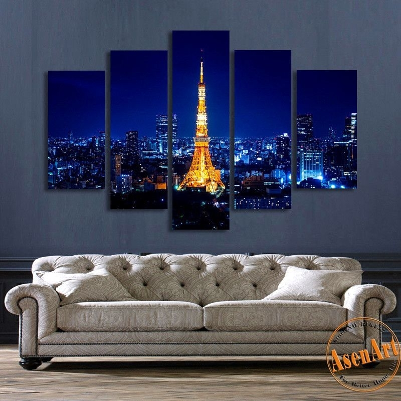 5 Panel Wall Art Tokyo Tower Night Landscape Painting Canvas Prints with regard to 5 Panel Wall Art