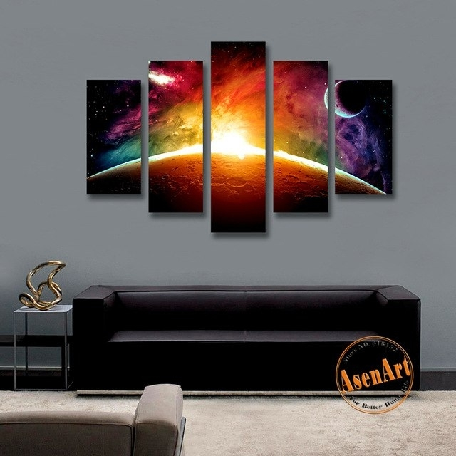 5 Panel Wall Picture Sunrise Universe Stars Painting Modern Canvas Throughout Panel Wall Art (Image 8 of 25)