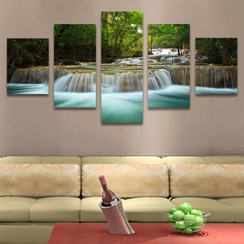 5 Panel Waterfall Painting Canvas Wall Art Picture Home Decoration Intended For Modern Large Canvas Wall Art (Image 6 of 25)
