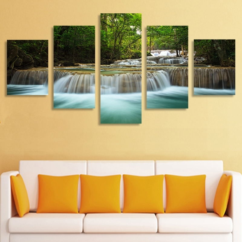 5 Panel Waterfall Painting Canvas Wall Art Picture Home Decoration regarding Living Room Painting Wall Art