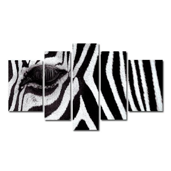 5 Panel Zebra Canvas Wall Art Prints B&w Animals Canvas Photo Art with regard to Zebra Canvas Wall Art