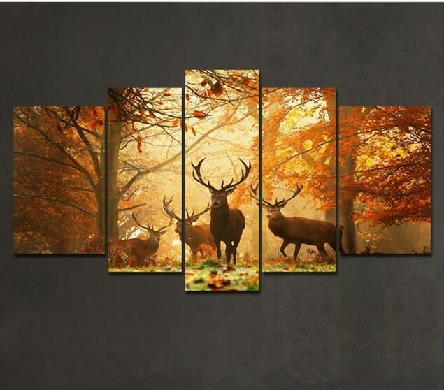5 Panels Brown 5 Panel Wall Art Painting Deer In Autumn Forest For 5 Piece Wall Art Canvas (View 5 of 10)