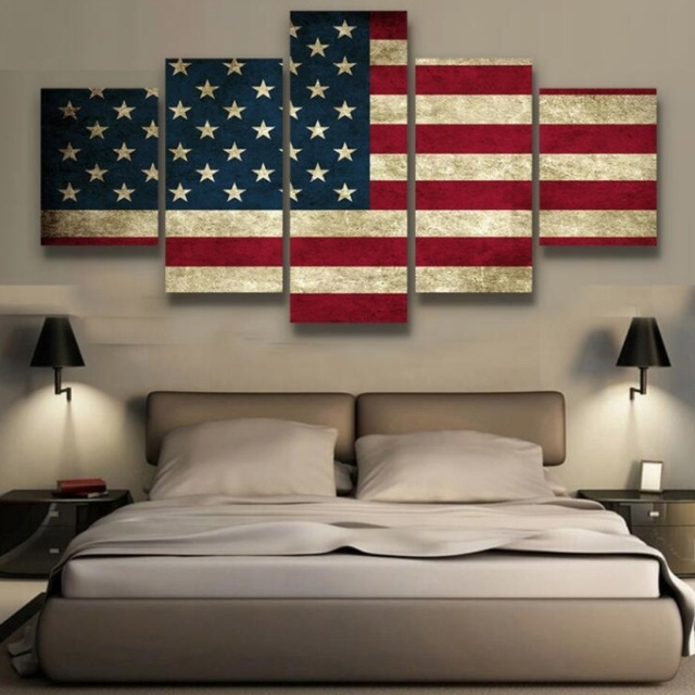 5 Panels Canvas Prints Rustic American Flag Canvas Painting Poster Inside American Flag Wall Art (Image 1 of 10)