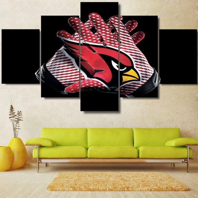 5 Panels Hd Arizona Cardinals Canvas Painting Prints Sport Wall Art intended for Arizona Wall Art