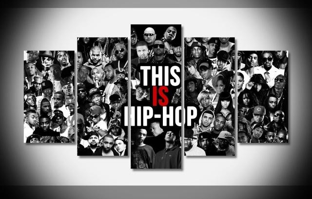 5 Panels Hip Hop Rap Gansta Poster Wall Art Picture For Living Room Inside Hip Hop Wall Art (View 10 of 10)