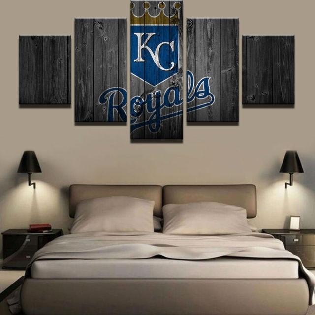 5 Panels Kansas City Royals Baseball Canvas Print Painting Wall Art for Kansas City Wall Art