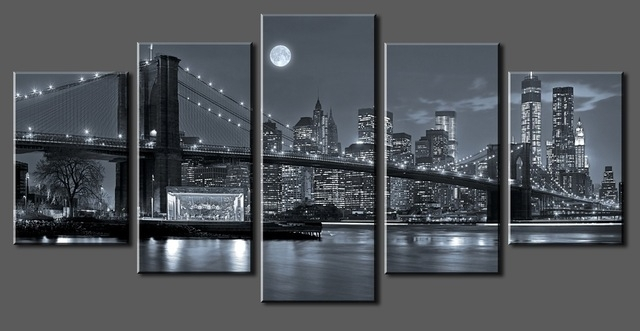5 Panels New York City Canvas Paintings Home Decor Vintage Wall Art With Regard To New York Wall Art (Image 3 of 25)
