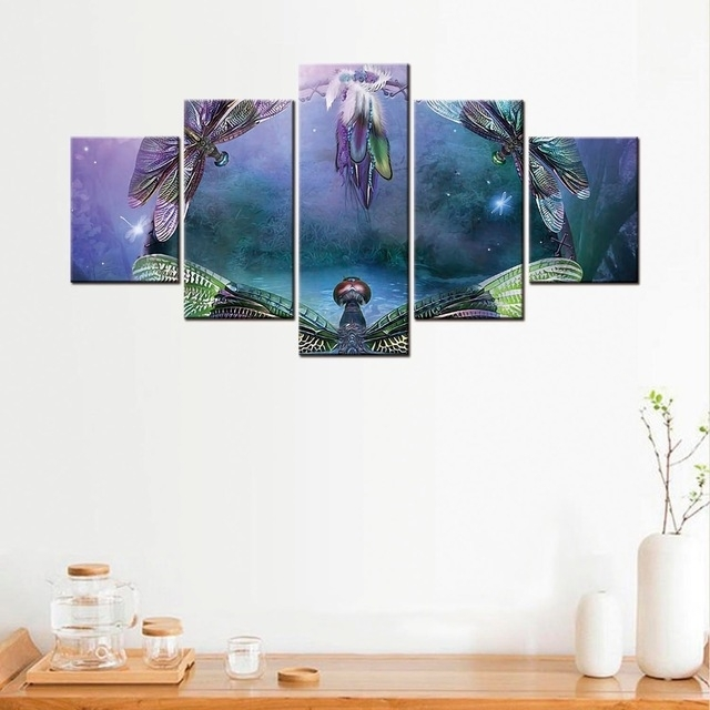 5 Pcs Dragonfly Canvas Poster Minimalist Art Canvas Painting Wall Intended For Dragonfly Painting Wall Art (Image 5 of 25)