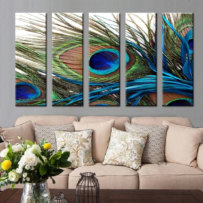 5 Pcs/set Peacock Feather Wall Art Top Home Decoration Modern Wall Pertaining To Cheap Wall Art (Image 3 of 10)