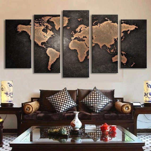 5 Pcs/set Vintage Abstract Wall Art Painting World Map Print On Intended For Map Of The World Wall Art (Photo 4 of 25)