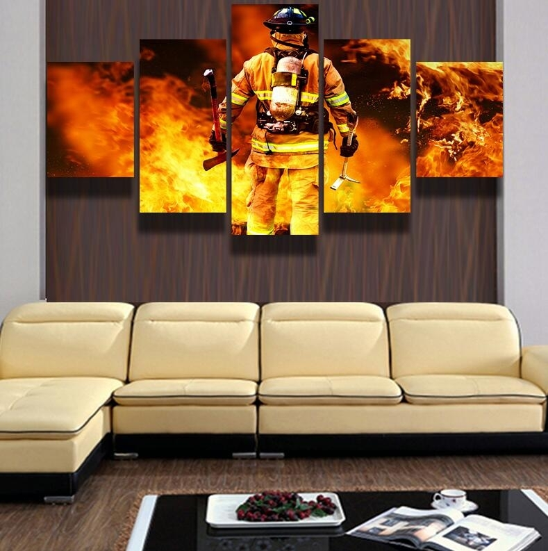 5 Piece Canvas Art Hd Firefighter Print Pictures For The Living Room Pertaining To Firefighter Wall Art (View 4 of 10)