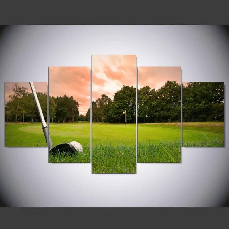 5 Piece Canvas Art Hd Print Canvas Room Home Decor Wall Art Hd Golf With Regard To Golf Canvas Wall Art (View 3 of 25)