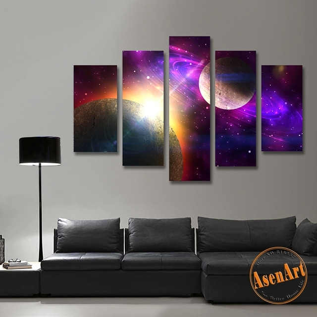 5 Piece Canvas Art Painting Galaxy Planet Universe Painting For Throughout 5 Piece Wall Art (Image 5 of 25)