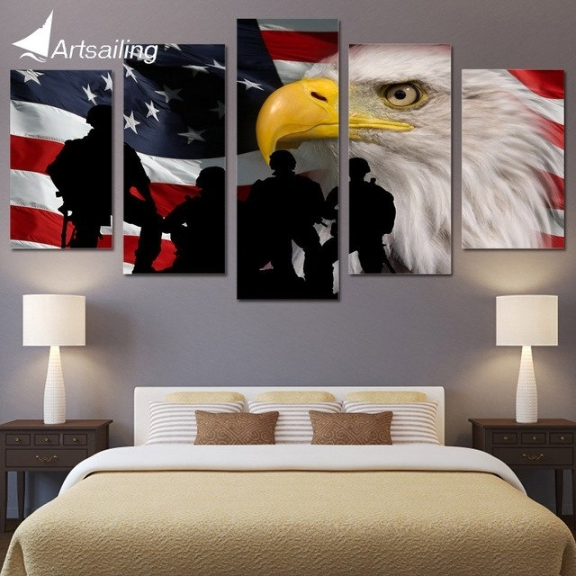 5 Piece Canvas Art Rustic Usa Flag Printed Wall Art Home Decor Throughout Rustic American Flag Wall Art (Image 2 of 25)