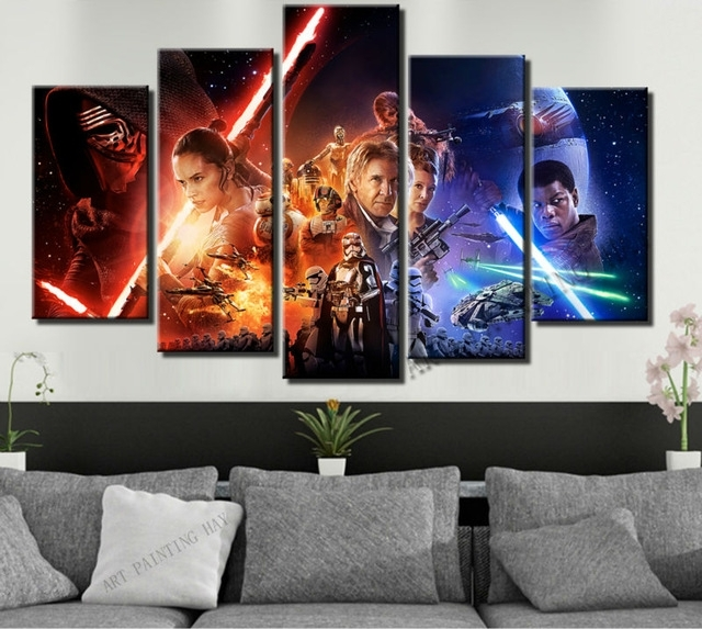 5 Piece Canvas Art Star Wars Episode The Force Awakens Movie Poster With Regard To 5 Piece Canvas Wall Art (View 3 of 25)