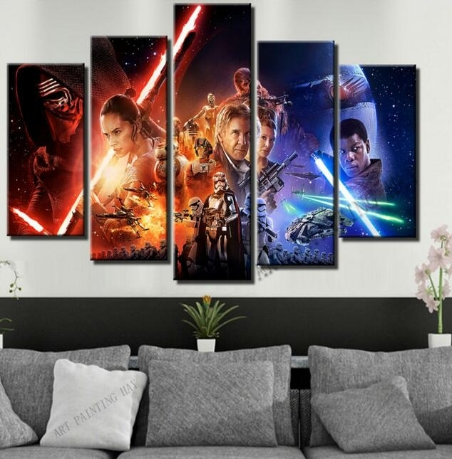 5 Piece Canvas Art Star Wars Episode The Force Awakens Movie Poster With Regard To Five Piece Canvas Wall Art (Photo 15 of 20)