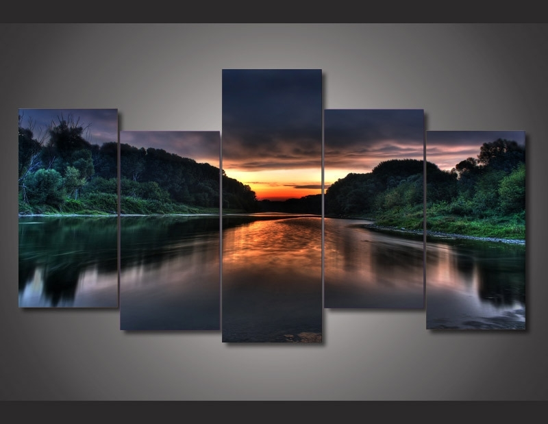 5 Piece Canvas Photography Trees Canvas Wall Art Ocean Huge 5 Panel in 5 Panel Wall Art
