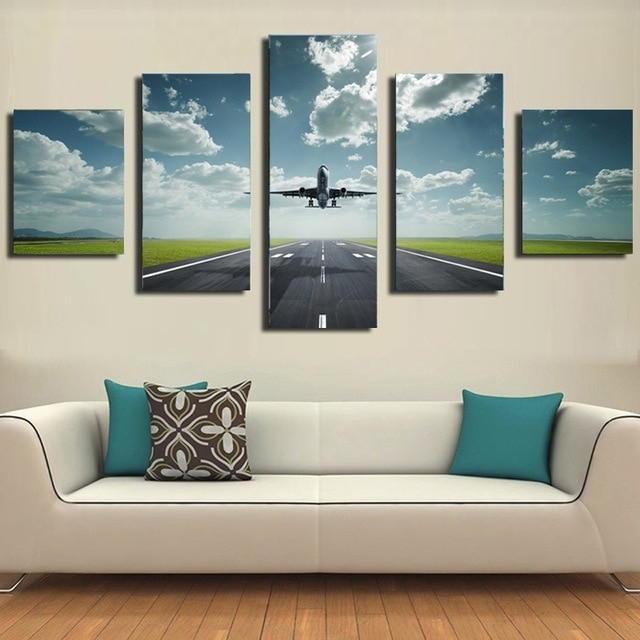 5 Piece Canvas Prints Modern Wall Pictures For Living Room Airplane Pertaining To Airplane Wall Art (Image 3 of 20)