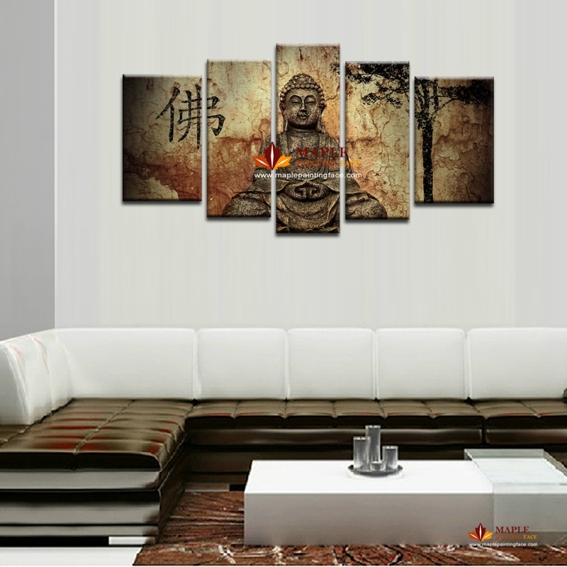 5 Piece Large Canvas Wall Art Buddha Painting On Canvas Abstract For Modern Large Canvas Wall Art (Image 7 of 25)