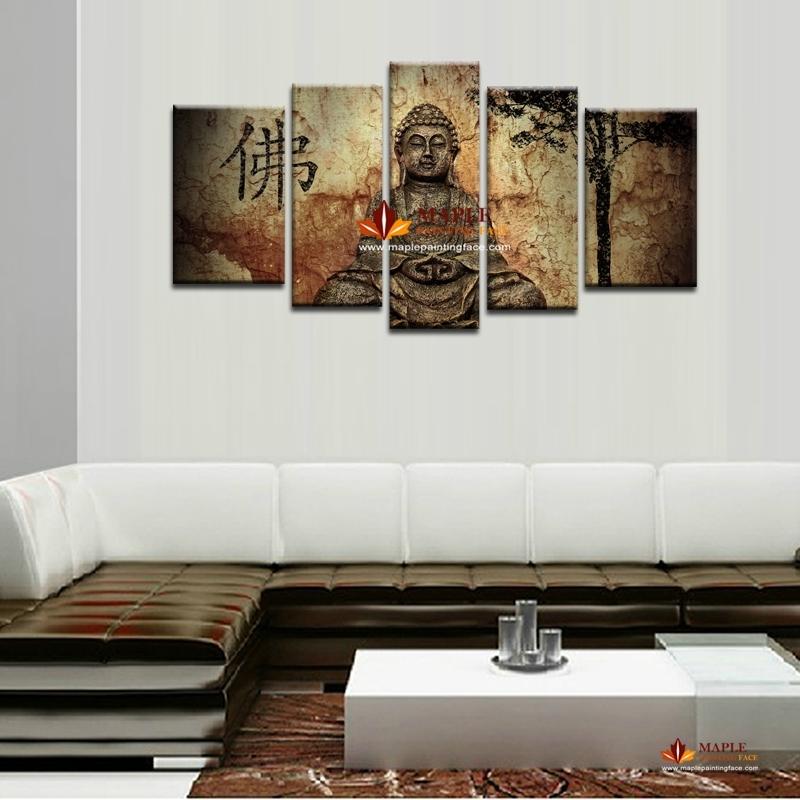 5 Piece Large Canvas Wall Art Buddha Painting On Canvas Abstract within Large Canvas Painting Wall Art