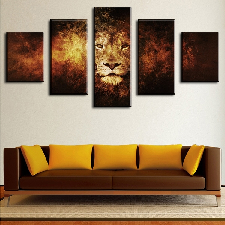 5 Piece Lion Modern Home Wall Decor Canvas Picture Art Hd Print Wall Pertaining To Modern Framed Wall Art Canvas (View 12 of 25)
