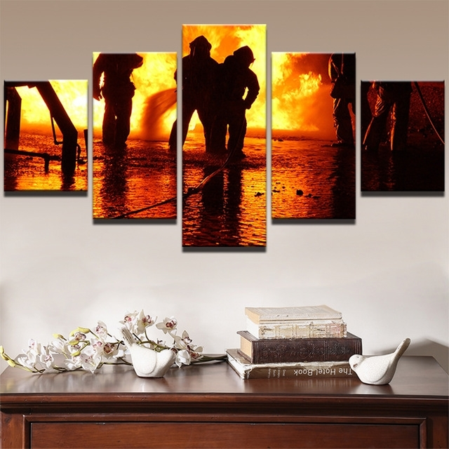 5 Piecels Canvas Prints Painting Wall Art Firefighter Our Hero Intended For Firefighter Wall Art (View 7 of 10)