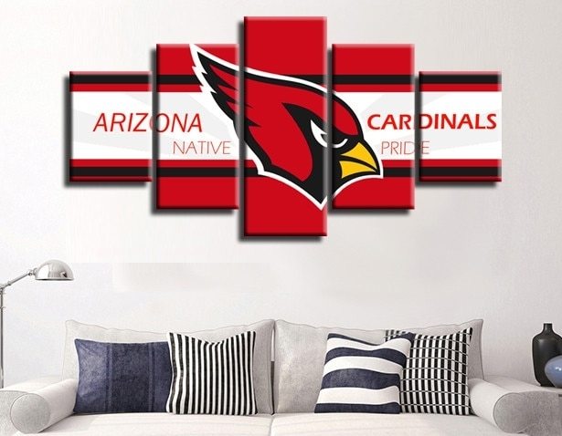 5 Pieces Arizona Cardinals Red Bird Canvas Painting Wall Art Poster Regarding Arizona Wall Art (Image 4 of 25)