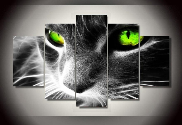 5 Pieces Black Cat Canvas Prints Painting Wall Art Home Decor With Cat Canvas Wall Art (View 3 of 25)