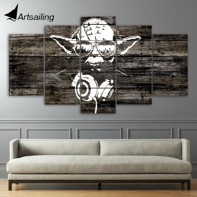 5 Pieces Canvas Paintings Printed Yoda Star Wars Wall Art Canvas In Star Wars Wall Art (Image 1 of 10)