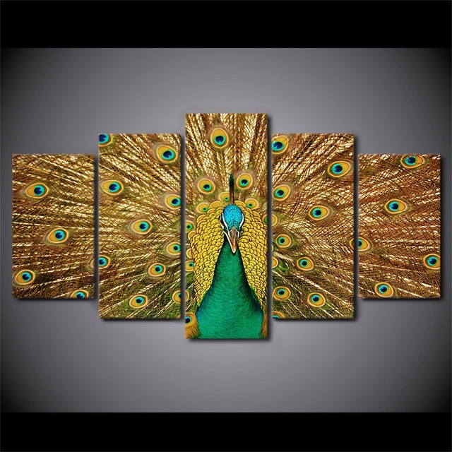 5 Pieces Canvas Prints Animal Colorful Peacock Painting Wall Art With Regard To Wall Art Panels (Image 4 of 25)