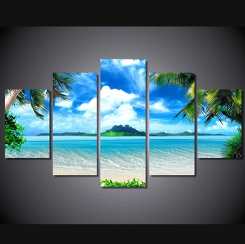 5 Pieces Canvas Prints Beach Blue Palm Trees Painting Wall Art Anime Regarding 5 Piece Canvas Wall Art (Image 13 of 25)