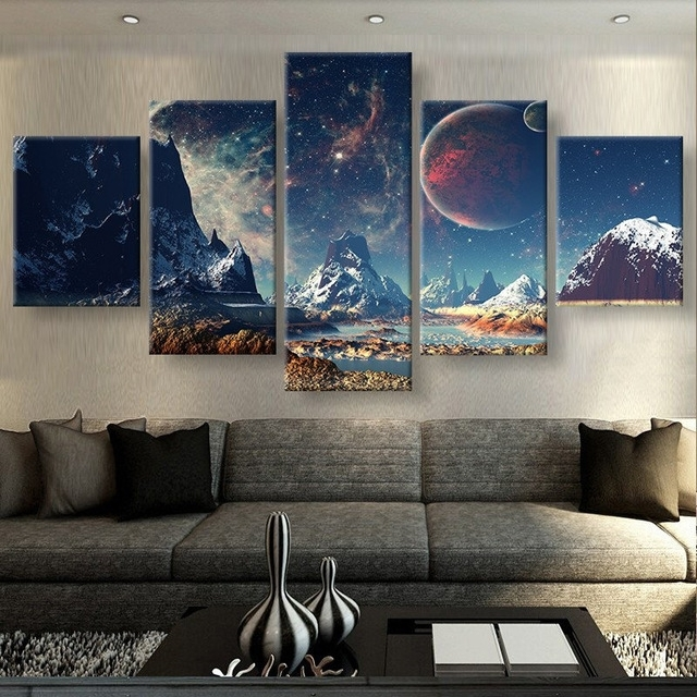 5 Pieces Canvas Prints Mountains And Space Sport Canvas Painting Pertaining To 5 Piece Canvas Wall Art (Image 14 of 25)
