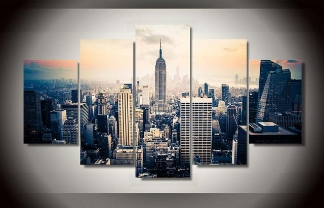 5 Pieces Canvas Prints New York City Vintage Painting Wall Art Home In New York Canvas Wall Art (View 10 of 10)