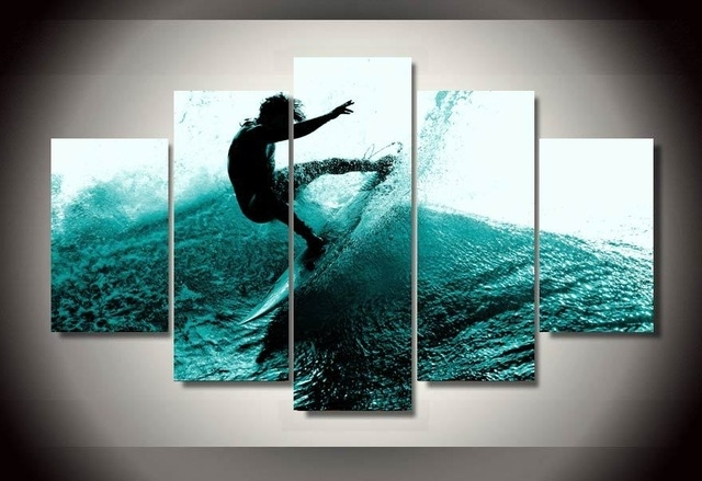 5 Pieces Canvas Prints Ocean Man Surfing Painting Wall Art Panels For Wall Art Panels (View 16 of 25)